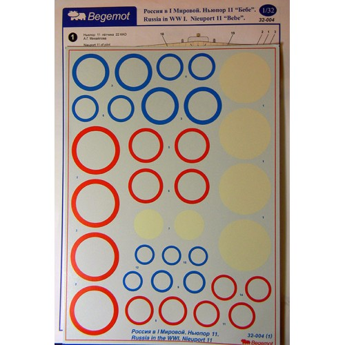 BGM-32004 Begemot decals 1/32 Russia in the WWI. Nieuport 11 Fighter Aircraft