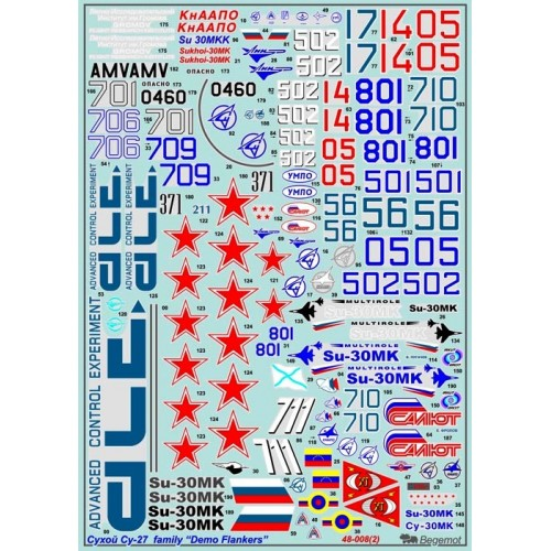 BGM-48008 Begemot decals 1/48 Sukhoi Su-27 Flanker Demo-Versions decal sheet