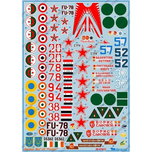 BGM-48010 Begemot decals 1/48 Mikoyan MiG-25 Foxbat Soviet Fighter-Interceptor