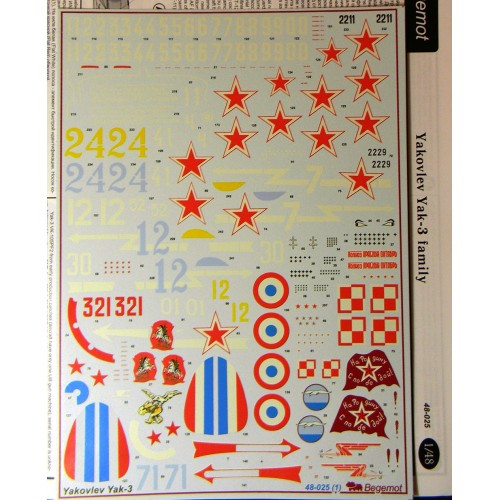 BGM-48025 Begemot decals 1/48 Yakovlev Yak-3 Soviet WW2 fighter decal sheet
