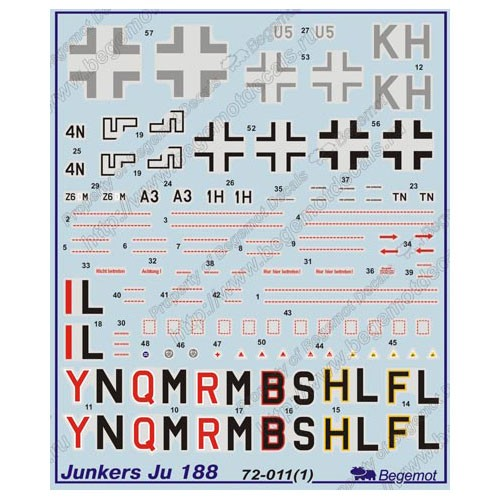 BGM-72011 Begemot decals 1/72 Junkers Ju-188 German WW2 fighter decal sheet