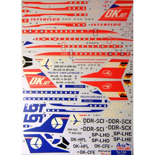 BGM-AVD144005 Begemot/AviaDecals 1/144 Tupolev Tu-134 in Europe decal sheet