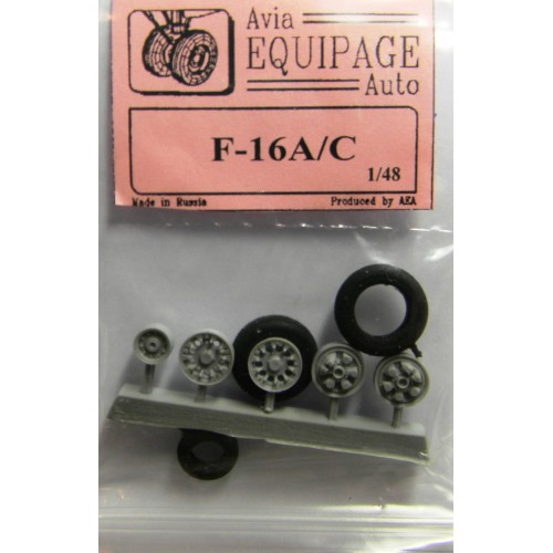 EQB-48059a Equipage 1/48 Rubber Wheels for General Dynamics F-16A ... F-16C Fighting Falcon