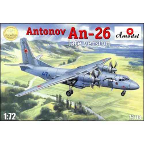 AMO-72118 1/72 Antonov An-26 (late) two-engined passenger turbo-prop aircraft model kit