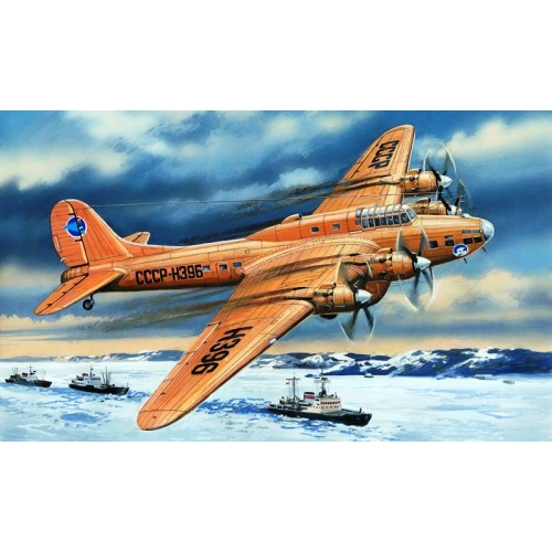 AMO-72155 1/72 Petlyakov Pe-8 Soviet Transport Aircraft of Polar Aviation model kit