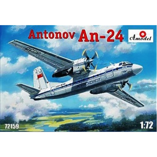 AMO-72159 1/72 Antonov An-24 Soviet Turboprop Passenger Aircraft model kit