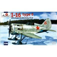 AMO-72164 1/72 Polikarpov I-16 type 6 Soviet WW2 Fighter (on Skis and with RS-82 Rockets) model kit
