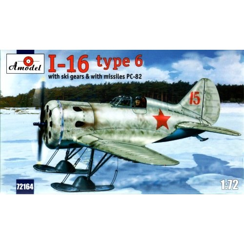 AMO-72164 1/72 Polikarpov I-16 type 6 Soviet WW2 Fighter (on Skis and with RS-82 Rockets) model kit