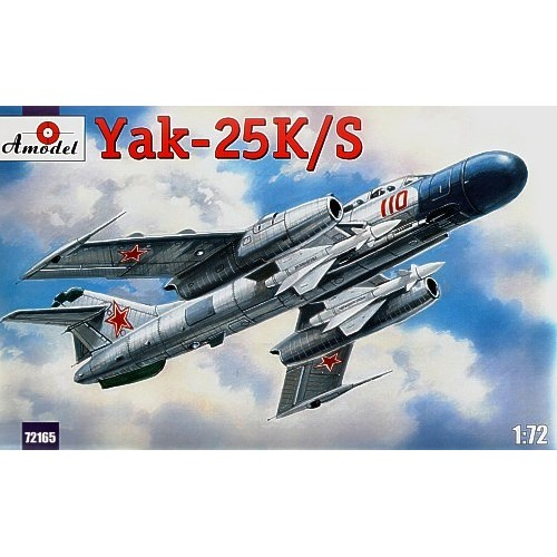 AMO-72165 1/72 Yakovlev Yak-25K/S Soviet Jet Fighter-Interceptor of 50s with On-Board Radar RP-1D 'Izumrud' and AA Missiles RS-1U model kit