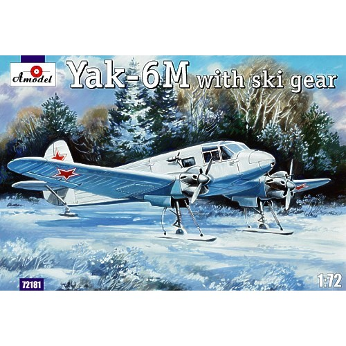 AMO-72181 1/72 Yakovlev Yak-6M Soviet WW2 Transport Aircraft with skis model kit