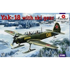 AMO-72195 1/72 Yakovlev Yak-18 Soviet Tandem Two-Seat Military Primary Trainer Aircraft on skis model kit