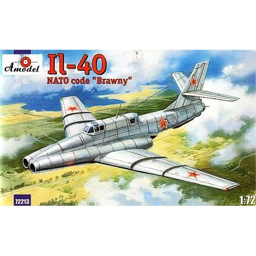 AMO-72213 1/72 Ilyushin Il-40 'Brawny' Soviet Two-Seat Jet-Engined Armored Ground-Attack Aircraft (2nd prototype Il-40P) model kit