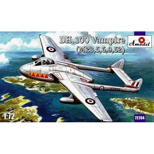 AMO-72264 1/72 De Havilland DH.100 Vampire Mk.3 / Mk.5 / Mk.6 / Mk.9 / Mk.59 British Jet-Engine Fighter model kit
