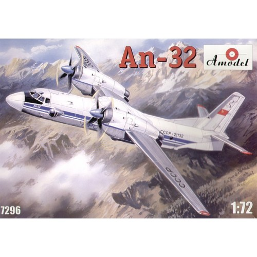 AMO-7296 1/72 Antonov An-32 Turboprop Transport Aircraft model kit