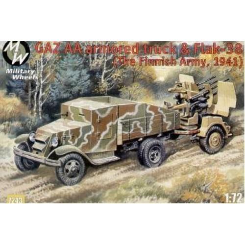 MWH-7243 1/72 GAZ AA armored truck and Flak-38. Finl 1941 model kit