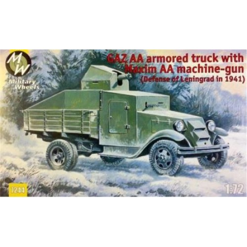 MWH-7244 1/72 GAZ AA armored truck with Maxim AA gun model kit