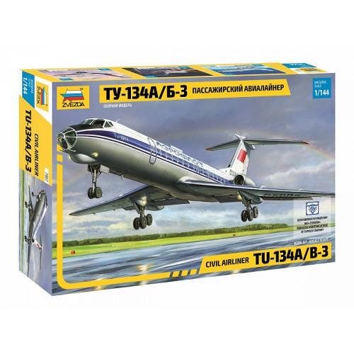 ZVD-7007 1/144 Tupolev Tu-134 Jet Passenger Airliner model kit