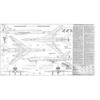 PLS-100102 1/100 Tupolev Tu-22 Blinder Full Size Scale Plans (2 A2 format pages)