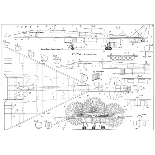 PLS-100110 1/100 XB-70 Valkyrie Full Size Scale Plans (two A2 format pages)