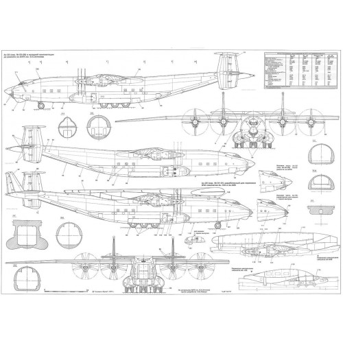 PLS-100119 1/100 Antonov An-22 Full Size Scale Plans (two A1 format pages)