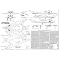 PLS-48013 1/48 F-117A Nighthawk Fighter Full Size Scale Plans (A0 format page)