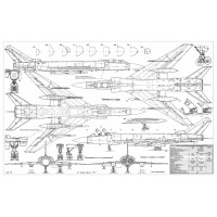 PLS-72003 1/72 Tupolev Tu-128 Fiddler Fighter Scale Plans (two A2 format pages)