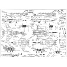 PLS-72006 1/72 Mikoyan MiG-25 Full Size Scale Plans (two A1 format pages)
