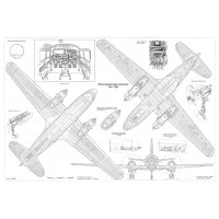 PLS-72010 1/72 Ilyushin Il-12 Full Size Scale Plans ( two A2 format pages)