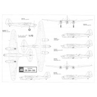 PLS-72020 1/72 Tupolev SB bomber Full Size Scale Plans (two A2 format pages)