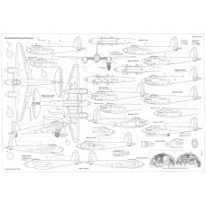 PLS-72021 1/72 Mosquito bomber Full Size Scale Plans (two A2 format pages)