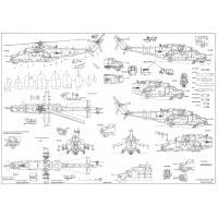 PLS-72023 1/72 Mil Mi-24 Full Size Scale Plans (two A2 format pages)