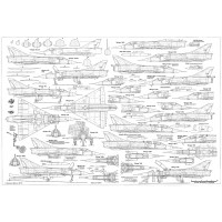 PLS-72043 1/72 Dassault Mirage III fighter Full Size Scale Plans (two A2 format pages)