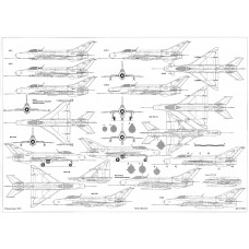 PLS-72045 1/72 Mikoyan MiG-21 early Full Size Scale Plans (two A2 format pages)