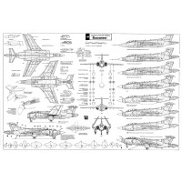 PLS-72048 1/72 Buccaneer strike aircraft Full Size Scale Plans (A1 format page)