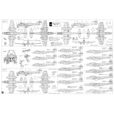 PLS-72052 1/72 Gloster Meteor British fighter Full Size Scale Plans (A1 page)