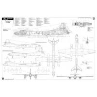 PLS-72053 1/72 Tupolev Tu-14 Bosun Soviet bomber Full Size Scale Plans (A1 page)