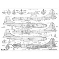 PLS-72061 1/72 Tupolev Tu-4 bomber Full Size Scale Plans (two A2 format pages)