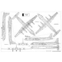 PLS-72073 1/72 Ilyushin Il-20 Coot Full Size Scale Plans (one A0 format pages)