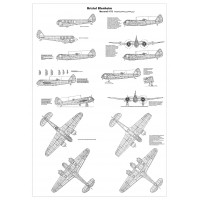 PLS-72076 1/72 Bristol Blenheim bomber Full Size Scale Plans (3xA1 format pages)