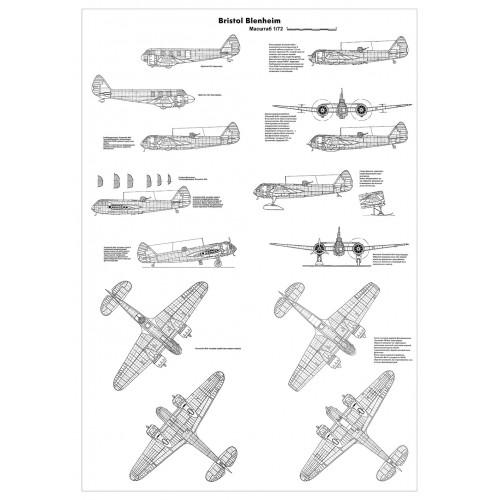 PLS-72076 1/72 Bristol Blenheim bomber Full Size Scale Plans (3xA1 format pages)