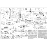 PLS-72092 1/72 Grumman TBF/TBM-1 Avenger torpedo bomber Full Size Scale Plans (1xA2 p)