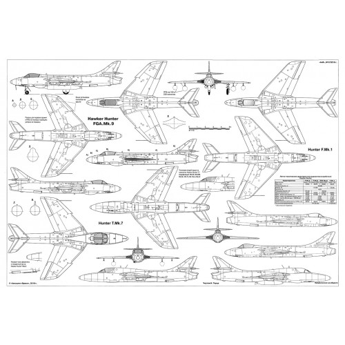 PLS-72093 1/72 Hawker Hunter fighter aircraft and Tupolev PS-35 Full Size Scale Plans (2xA2 p)