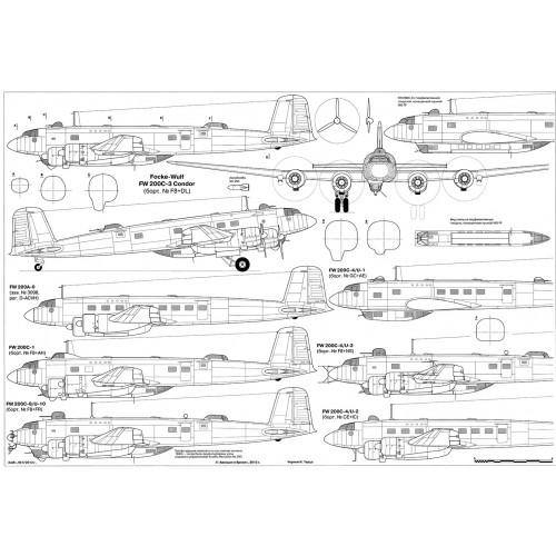 PLS-72094 1/72 Focke-Wulf Fw 200 Condor long-range reconnaissance and bomber Full Size Scale Plans (2xA2 p)