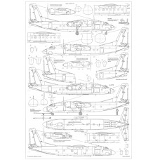 PLS-72095 1/72 Antonov An-24 twin turboprop transport/passenger aircraft Full Size Scale Plans (2xA2 p)