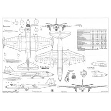 PLS-72097 1/72 English Electric Canberra bomber Full Size Scale Plans (2xA2 p)