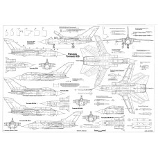 PLS-72107 1/72 Tornado combat aircraft Full Size Scale Plans (2xA2 pages)