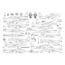 PLS-72108 1/72 Lockheed U-2 reconnaissance aircraft Scale Plans (2xA2 pages)